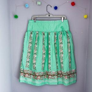 JCREW a-line green skirt
